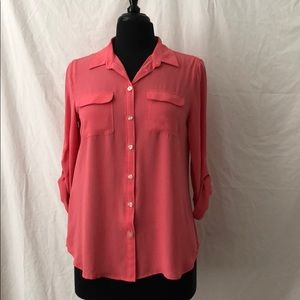 Flowy Button Down Blouse-Loft, size MP